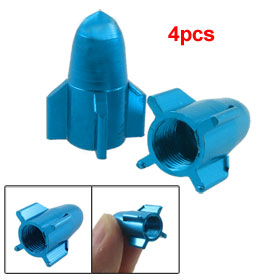 4 Pcs Cyan Blue Rockets Shape Car Auto Vehicle Tyre Tire Valve Covers Caps