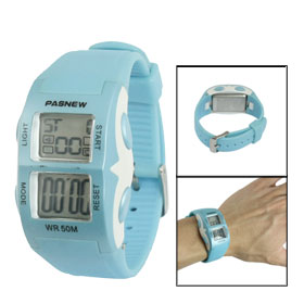 Women Baby Blue Soft Plastic Adjustable Band Sports Alarm Stop Watch
