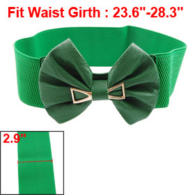 Faux Leather Bowknot Decor Press Stud Button Green Waist Belt for Women