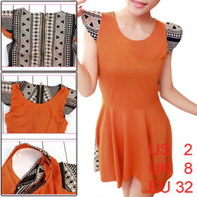 Ladies Orange Scoop Neck Sleeveless Padded Shoulder Geometric Prints Back Dress XS