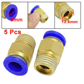 "5 Pcs 8mm Tube 1/4"" PT Thread Brass Quick Connector Pneumatic Air Fittings"