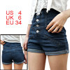 Women Blue Fake Pockets Front Cuffed Detail Button Closure Short Jeans S