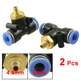 2 Pcs Pneumatic 4.8mm Thread 6mm One Touch Push In T Joint Quick Fittings