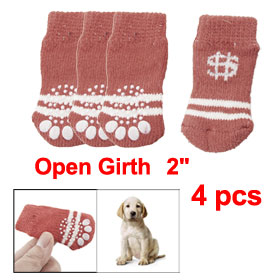 White Stripe Pattern Red Winter Socks 4 Pcs for Pet Dog