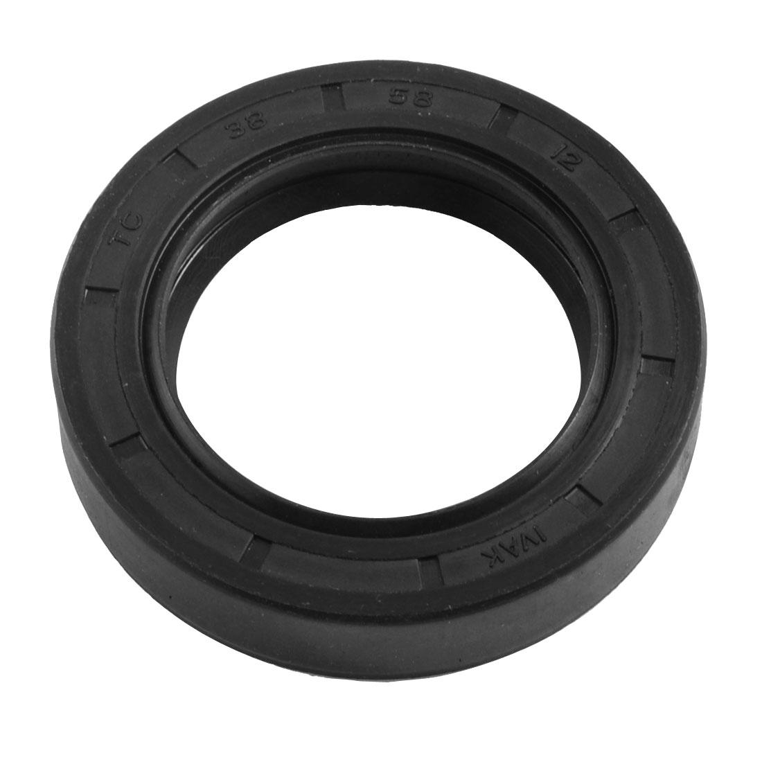 Black-Nitrile-Rubber-Dual-Lips-Oil-Shaft-Seal-TC-38mm-x-58mm-x-12mm