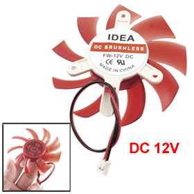 Computer Red Plastic VGA Video Card DC 12V Brushless Cooling Fan