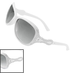 Women Carved Dot Star Arms Black Lens White Plastic Sunglasses