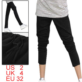Ladies Drawstring Waist Two Pockets Side Black Pants M