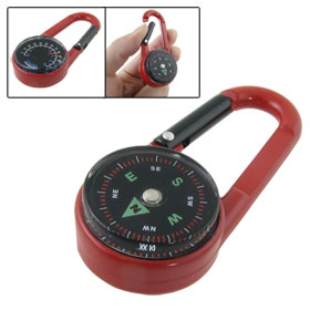 Climb Hiking Survival Compass Thermometer Carabiner Key Chain Red