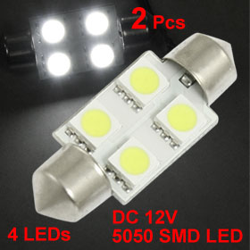 2 Pcs Car 36mm White 5050 SMD 4 LED Festoon Dome Map Light Bulb DC 12V