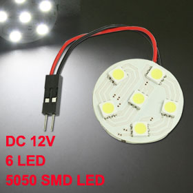 Car Interior White 6 5050 SMD LED Dome Light Round Panel Festoon Bulb + T10