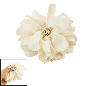 Party Off White Nylon Flower Hair Alligator Clip Corsage Brooch Pin