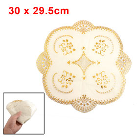 Round Flower Shape Gold Tone Vinyl Plastic Lace Placemat Table Cup Mat