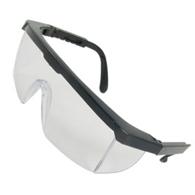 Black Plastic Frame Arms Transparent Mono Lens Goggles for Man