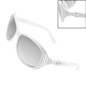 Ladies Plastic White Frame Arms Single Bridge Sunglasses
