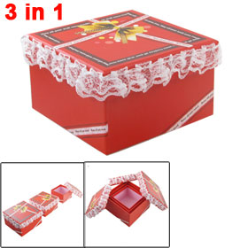 White Lace Hem Bowknot Pattern 3 in 1 Square Gift Box Holder Red