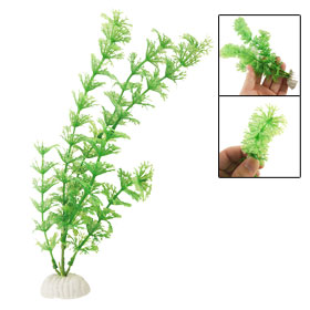 Ceramic Base Artifical Aquarium Fish Tank Decor Plant Grass Green