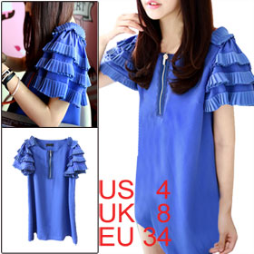 Women Blue Zip up Front Scoop Neck Ruffled Layered Short Sleeve Dress XS