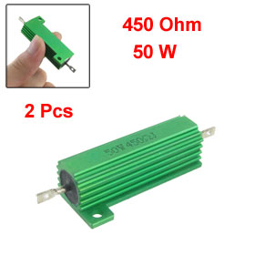 50W 450 Ohm Screw Tap Mounted Aluminum Housed Wirewound Resistors 2 Pcs