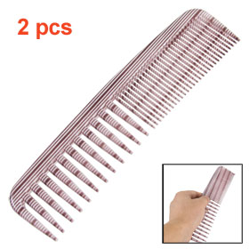 Striped Plastic Double Head Wide Fine Teeth Hair Comb Beauty Tool 2 Pcs