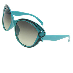 Teal Green Plastic Full Frame Oversized Dark Lens Sunglasses for Lady