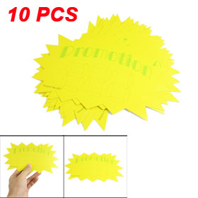 Supermarket Shops Yellow Paper Promotion Sale Price Tags Sticker 10 Pcs