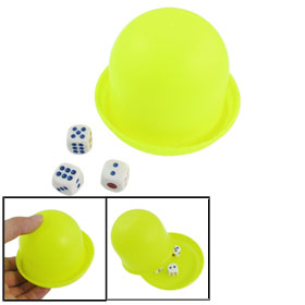 Family Party Yellow Green Plastic Dice Cup Game Toy w Dices