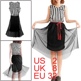 Woman Mesh Vertical Stripes Patchwork Black White Layer Tank Dress XS