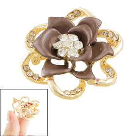 Glittery Rhinestone Detail Brown Metal Flower Brooch for Ladies