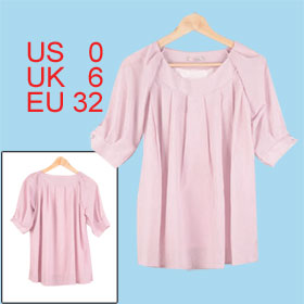Woman Half Length Sleeve Scoop Neck Light Pink Chiffon Top Blouse XS