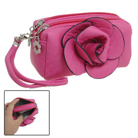 Fuchsia Flower Accent Zipper Closure Faux Leather Purse Wallet for Women