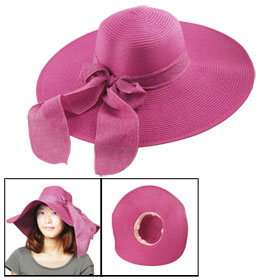 Bowknot Band Accent Straw Floppy Summer Beach Sun Hat Fuchsia