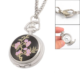 Pink Floral Pattern Arabic Numbers Dial Metal Pocket Watch for Woman
