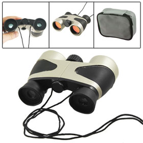 Boys Girls Black Gray Plastic Binoculars Telescope Toy w Neck Strap