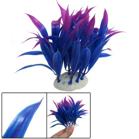 Fuchsia Blue Plastic Underwater Grasses Plants Decor for Aquarium Tank