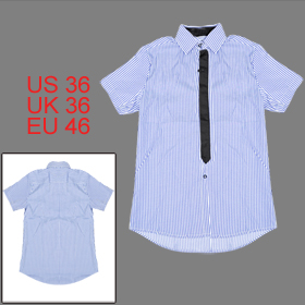 Mens New Stylish Medium Blue Point Collar Casual Summer Shirt Tops S