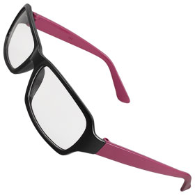 Lady Magenta Plastic Arm Clear Lens Plain Glasses