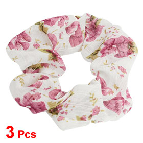 3 Pcs Hairdressing Amaranth Flower Prints Chiffon Coated Ponytail Hair Band