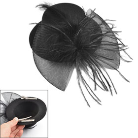 Black Mesh Bowknot Feather Decor Mini Top Hat Alligator Hair Clip
