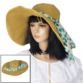 Woman Ladybug Print Ribbon Wide Brim Summer Beach Sun Hat Floppy Cap Brown