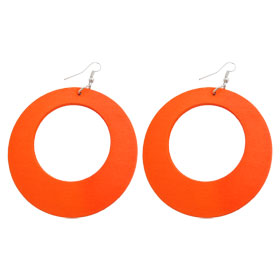 Lady Orange Wood Circle Pendant Fish Hook Earrings Pair