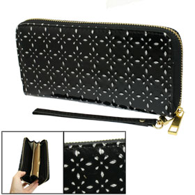 Women Rhombus Pattern Black Faux Leather Zipper Closure Wallet Bag w Hand Strap