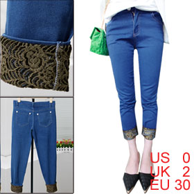 Woman Zip Fly Gold Tone Turn Up Hem Dark Blue Cropped Denim Pants XS