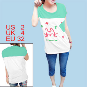 Woman Cartoon Pattern Front Batwing Sleeve Green White Summer Shirt XS