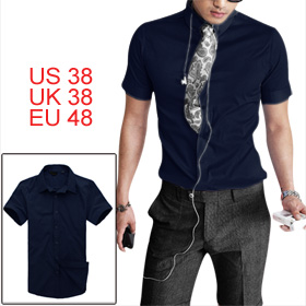 Mens Casual Trendy Deep Blue Formfitting Single Breasted Shirt Tops S