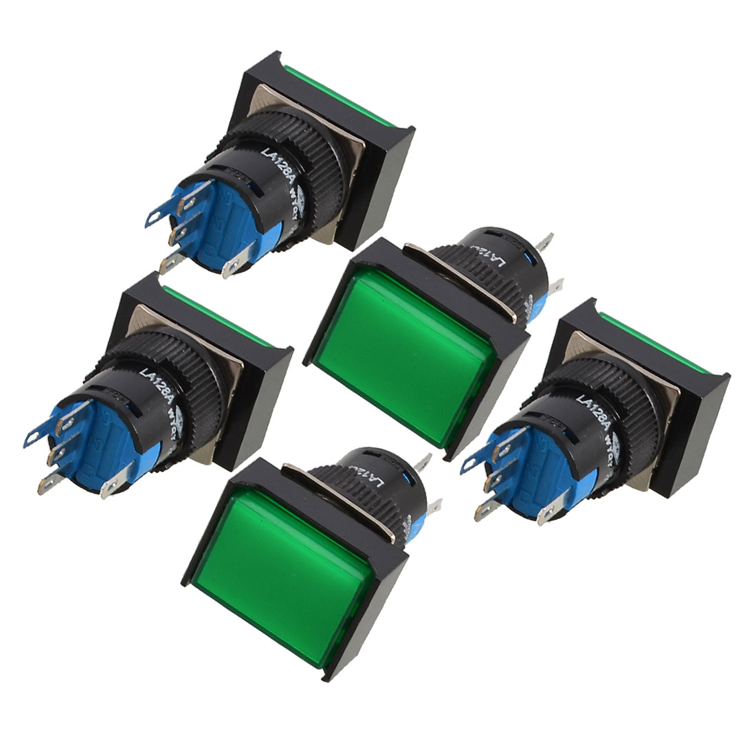 AC-110V-5A-1P2T-5-Terminals-Green-Cap-Momentary-Push-Button-Switch-5pcs