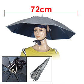 Grid Print Headband Silver Tone Umbrella Hat Headwear for Fishing