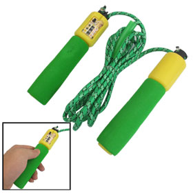 9.35Ft Green Yellow Plastic Sponge Handle Digital Counter Skipping Rope