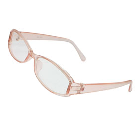 Girls Light Pink Full Frame Rectangle Clear Lens Plain Glasses