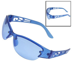 Blue Plastic Cat-Eye Shape Vine Print Arms Half Rims Sunglasses